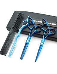 5.5 Inches Hair Cutting Scissors Set with Razor Combs...