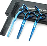 5.5 Inches Hair Cutting Scissors Set with Razor Combs Lether Scissors...