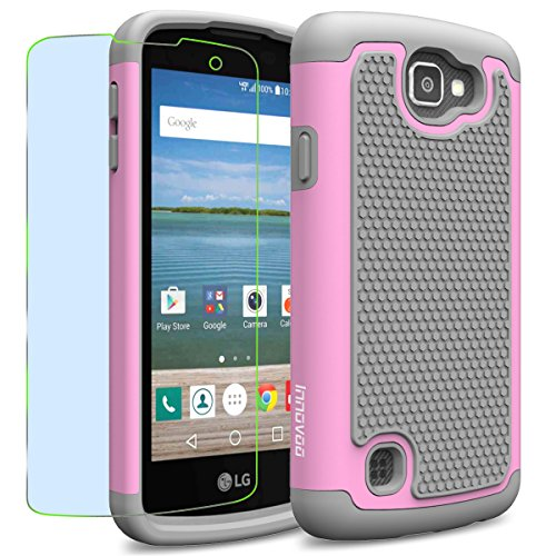 LG Optimus Zone 3 / K4 / Spree Case, INNOVAA Smart Grid Defender Armor Case W/ Free Screen Protector & Touch Screen Stylus Pen - Grey/Light Pink (Lg Optimus Otterbox compare prices)