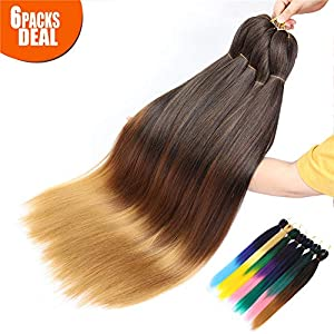 3 Tone Pre Stretched Braiding Hair, 28 Inches Ombre Yaki texture Braid Hair Extensions, 6 Bundles 100% Top Quality Kanekalon Synthetic Colorful Hair Braids (1b-30-27)