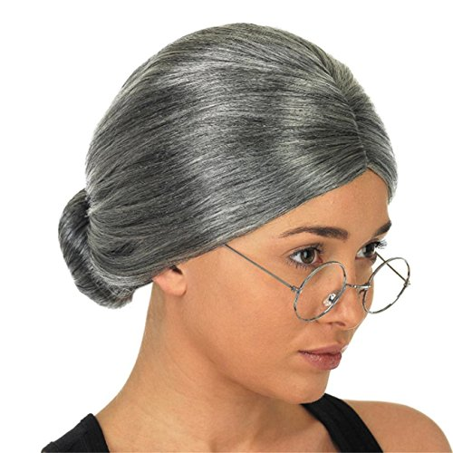 ABASSKY Old Lady Grandma Granny Grey Wig Bun Hair Grand Mother Fancy Dress (Diy Old Lady Halloween Costume)