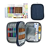 Ergonomic Crochet Hooks Set | Knitting Needle Kit,Portable Zipper Organizer Case with 9pcs 2mm to 6mm Soft Grip Crochets and Weaving Accessories Knitting Craft Tools for Patterns & Yarns