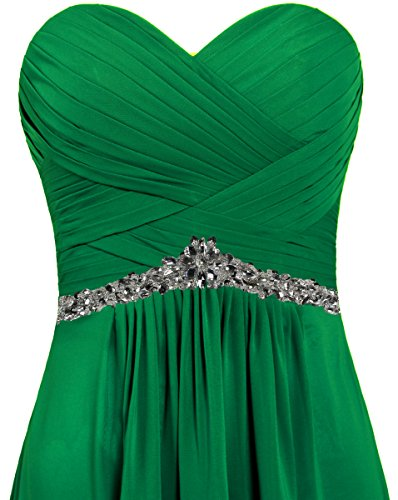 Long for Dresses Chiffon Women's Evening Green Strapless ANTS Party tq4zSwx
