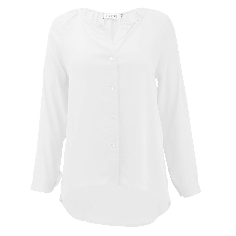 Luxspire Blusas para Mujer, Sexy Camisetas para Mujer, Transpirables Blusas Casuales Adelgadas Regalos Bonitas para Novias, Tops Camisetas de Manga Larga, Blanco - M