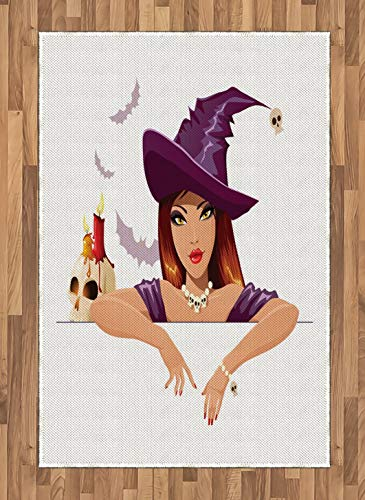 Witch Area Rug Young Woman with Attractive Face