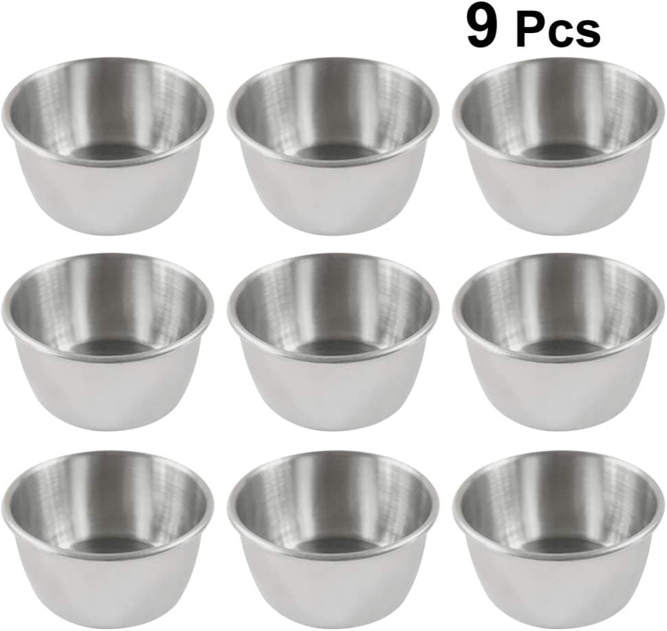 4pcs Stainless Steel Sauce Dishes Food Dipping Bowls Round Seasoning Saucer Dish