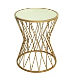 HomePop Hourglass Metal Accent Table Mirror Top, Gold