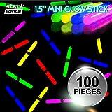1.5' Mini Glow Sticks 6 Assorted Colors Fishing Glo Light Kids DJ Party - 100 PCS