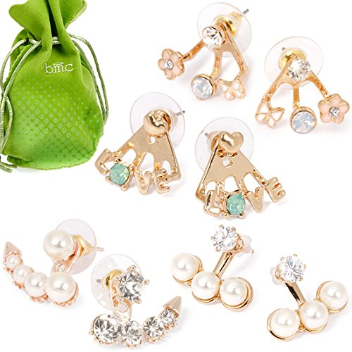 [BMC Super Cute Girly 4 Pair Mini Gold Rhinestone Ear Cuff Stud Earring Set] (Cute Unique Costumes)