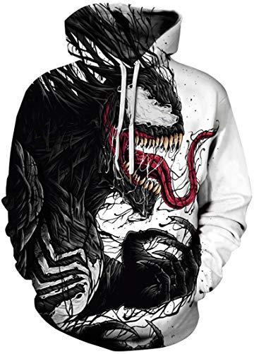 Pandolah Men's 2018 Fashion Novelty Sweatshirts Animal 3D Printed Hoodies (006Venom 2-b, Large/X-Large) -