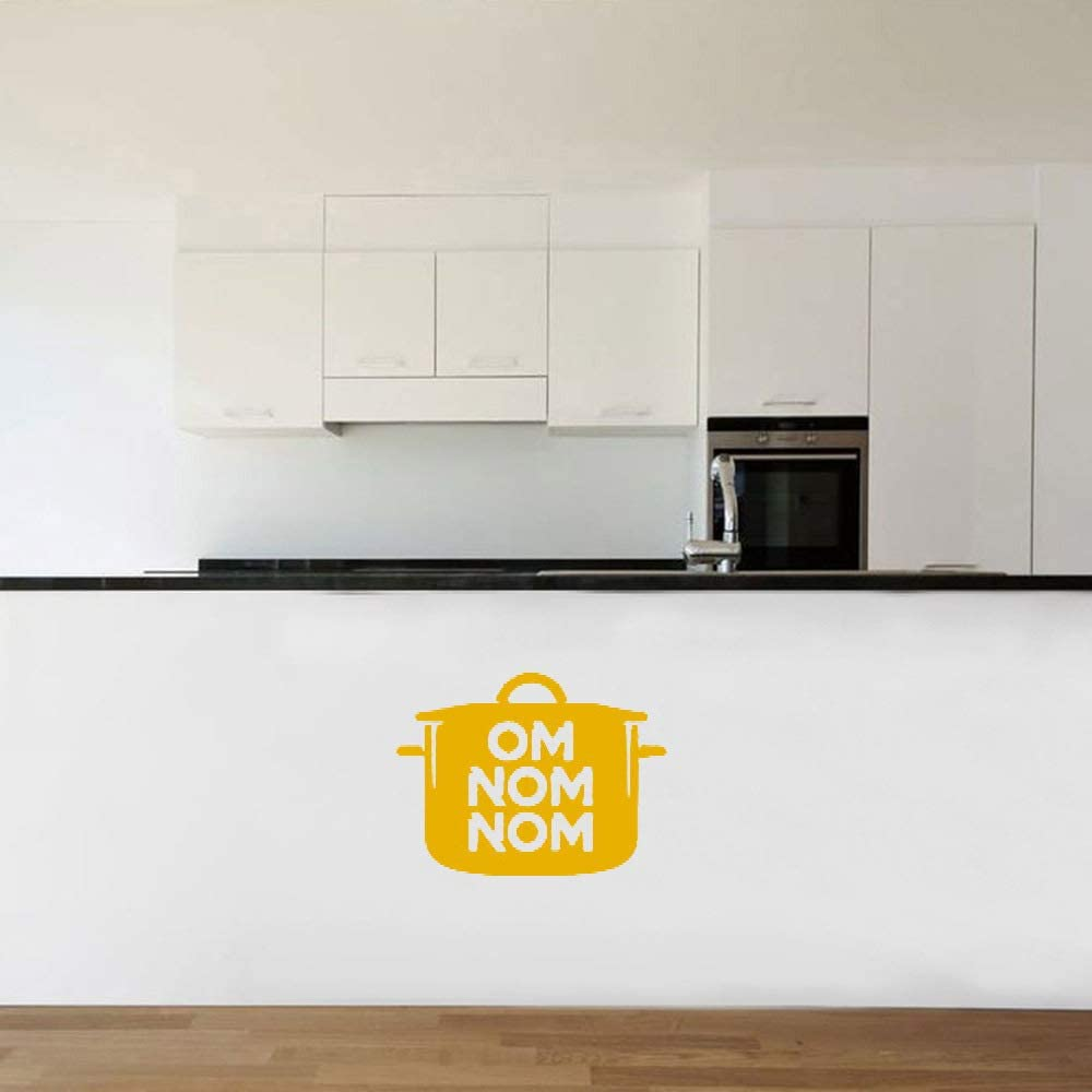 Om Nom Nom Cooking  Pot Wall Decal Sticker Funny Kitchen Wall Decor Baking and Cooking Chef Quotes