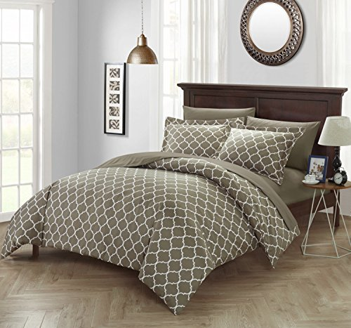 Corinna Print - Chic Home Corinna 3 Piece Reversible Duvet Cover Set Geometric Diamond Fretwork Pattern Print Zipper Closure Bedding - Decorative Pillow Shams Included, Queen Taupe