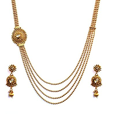 Buy beautiful four layer ball chain kundan based one side pendant beautiful four layer ball chain kundan based one side pendant antique necklace set mozeypictures Images