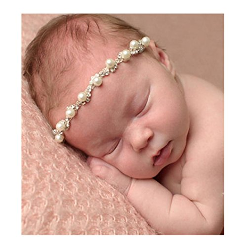 DZT1968® Baby Girl Narrow Headband Head Wrap Hair Band Headwear With Pearl Rhinestone Flower (A) (Rhinestone Head Wrap)