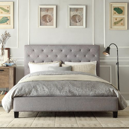 Modern Diamond Gray Button Tufted Upholstered Padded Square Queen Platform Bed With Headboard   Includes Modhaus Living Pen