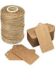 300 Feet Natural Jute Twine and 100PCS Brown Retangle Kraft Paper Gift Tags for Crafts & Price Tags Lables by Blisstime