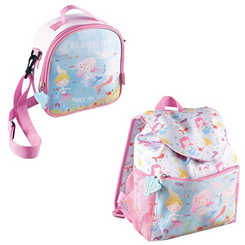 Mermaid Under the Sea Reinforced Water Resistant Backpack and Lunch Bag 2 Piece Set -