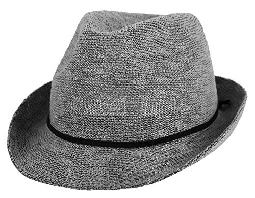 Simplicity Men Women Packable Classic Fedora Short Brim Sun Beach Hat, Mid -