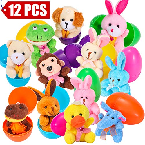 Friendly Eco Plush Toy - 12 Pieces Easter Eggs Filled with Mini Toys - Perfect As Party Favors, Easter Egg Hunt Supplies - Different Plush Toy Filled 3.15'' DIY Colorful plastic eggs