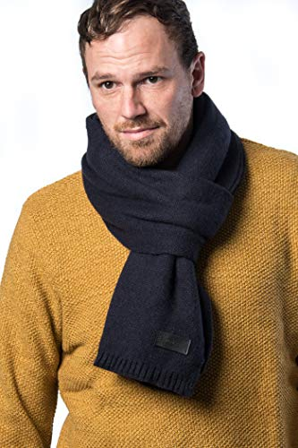 Mens Winter Scarves - Mio Marino Winter Scarf for Men, Soft Knit Scarve, in an Elegant Gift Box - Navy & Black