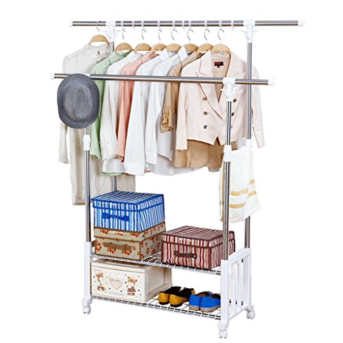2-rods Clothes Drying Rack Adjustable Clothes Garment Rack T