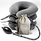 TONELIFE Cervical Neck Traction Device - Instant Pain Relief for Chronic Neck - Effective Pain Relieving Remedy at Home - Adjustable Traction Collar - Cervical Pillow With Travel Bag (Grey)