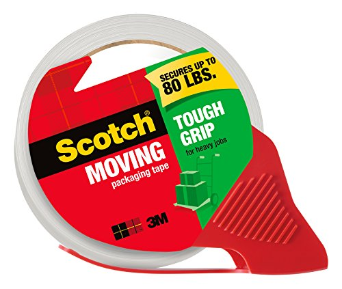Scotch Tough Grip Moving Packaging Tape, 1.88 in. x 54.6 yd., 1 Dispenser/Pack (3500-RD)