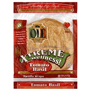 Ole Mexican Tortilla Wrap, Tomato Basil, 8ct, 12-Ounce (Pack of 6)