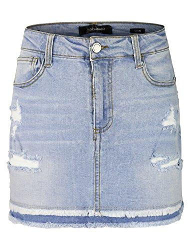 makeitmint Women's Double Layered Frayed Hem Distressed Denim Jean Mini Skirt YBSK0008-LIGHT-MED (Mini Skirt Frayed)