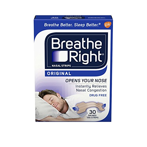 Breathe Rite Strips - Breathe Right Original Tan Small/Medium Drug-Free Nasal Strips for Nasal Congestion Relief, 30 count (Pack of 2)