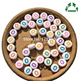 EmmaGreen 4x7mm 200pcs White Coin Colorful Acrylic Alphabet Letter Acrylic Spacer Beads Single Letter O Beads For Jewelry