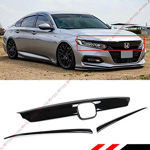 Fits for 2018-2019 Honda Accord JDM Glossy Black Front Upper Grill Molding Trim Cover + Eyelid Cover -3 Pieces