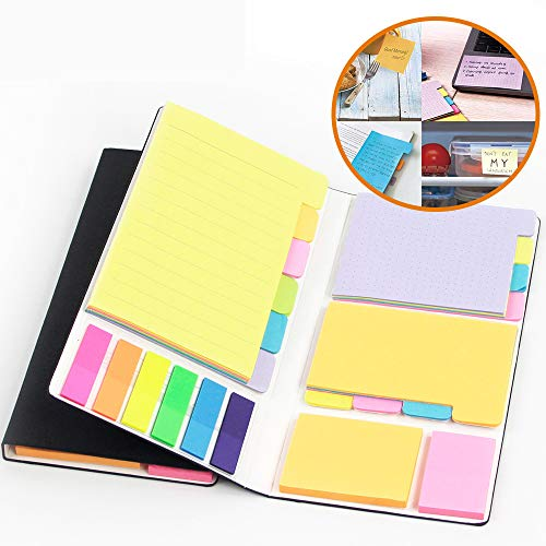 Colored Divider Sticky Notes Bundle Set by mount huang, Prioritize with Color Coding, 60 Ruled (4x6), 48 Dotted (3x4), 48 Blank (4x3), 48 Orange and Pink, 25 per PET Color - 402 pcs