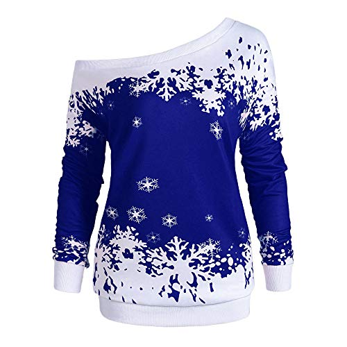 iDWZA Fashion Christmas Women Snowflake Print Long SleeveTops Sweatshirt Pullover Blouse Shirt(Blue,US XL/CN XXL)