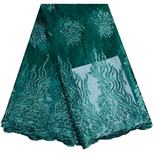Lace - New Designs African French Lace Fabric Nigeria African French Net Lace with Stone for Women Party Dress A890 - (Color: As Picture)