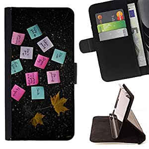 DEVIL CASE - FOR Samsung Galaxy Note 3 III - Sticky Notes Paper Maple Leaf Autumn - Style PU Leather Case Wallet Flip Stand Flap Closure Cover