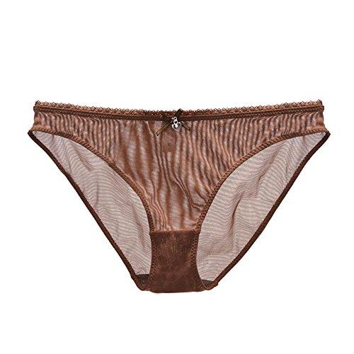 Vogue's Secret Women's Unlined Plus Size See-through Bra Sexy Lace Mesh Transparent Breathable Panties Underwear,Brown1,Large