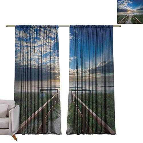 - Thermal Curtains Beach,Entry to The Beach with Leading Handrails Surrounded by Bushes Sunrise Cloudy Weather, Multicolor W84 x L96 Blackout Curtains for Bedroom