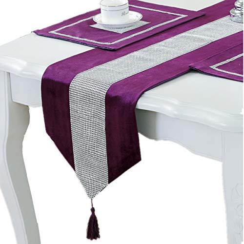 - Bettery Home Modern Style Luxury Table Runner Diamante Stripe Tassels Tablecloth for Wedding Holiday Dining Room Decor, 12 x 82 Inches, Purple