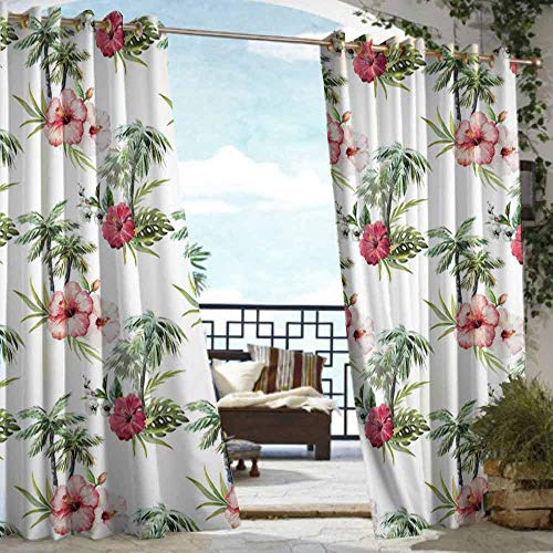 (VIVIDX Curtains for Bedroom,Hawaii,for Porch&Beach&Patio,W96x72L Pale Pink Ruby Reseda Green)
