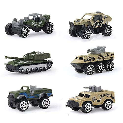 Army Toy Sets for Boys, Toy Vehicles for Toddlers, 6 Pack Die-cast Military Vehicles Army Tank Toys Play Vehicles Car Toys, Armored Car, Tank, Jeep, Anti-Air Vehicle for Kids Boys Girls Children