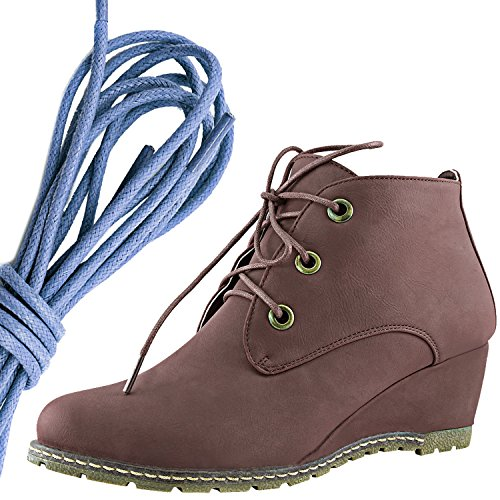 Dailyshoes Femmes Mode Lace Up Bout Rond Cheville Haute Oxford Wedge Bootie, Bleu Royal Marron Pu
