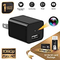 Spy Camera - Hidden Camera -Full HD 1080P - USB Hidden Camera - Surveillance Camera - Mini spy Camera - Nanny Camera - Spy Camera Charger - Hidden Camera Charger Adapter -Nanny cam