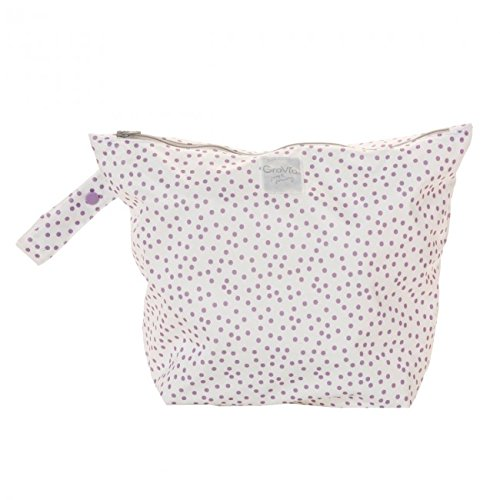 GroVia Reusable Zippered Wetbag for Baby Cloth Diapering and More (Violet Dot)