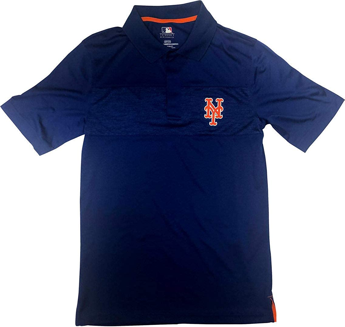 New York Mets 3 Button Men's Polo Shirt Small Blue : Clothing