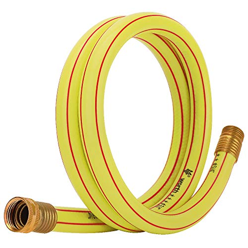 Homes Garden 3/4 in. x 5 ft. Short Garden Hose Yellow High Water Pressure with Solid Brass Fittings for Household and Professional Use 5 Years Warranty #G-H163A08-USA