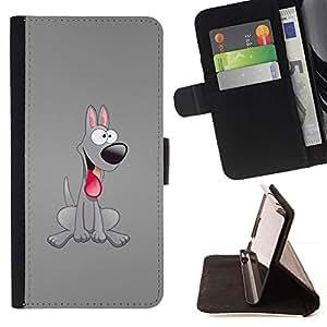Momo Phone Case / Flip Funda de Cuero Case Cover - Grey Dog friendly Lengua 3D Arte Historieta rosada - LG Nexus 5 D820 D821