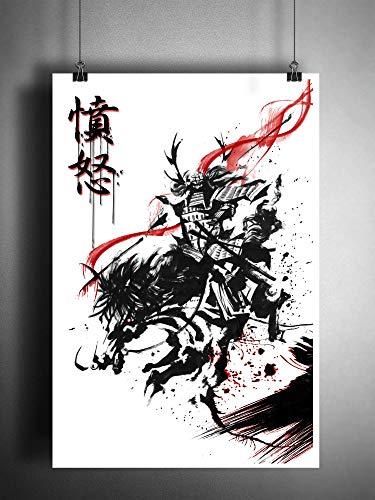 Samurai warrior on horse art, japanese splatter style ink art print, Kanji for fury