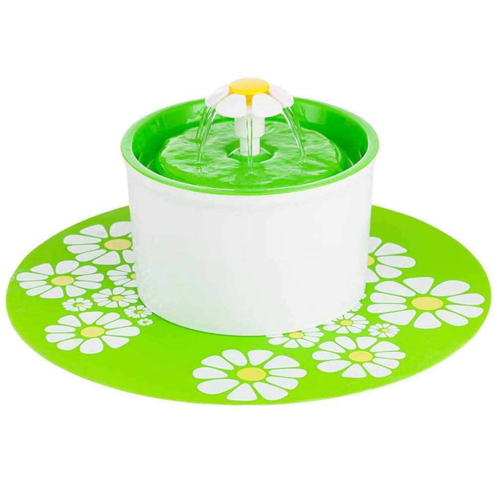 Green Cat Fountain, 1.6 Liters Flower Style Designed Pet Fountain with Super Quiet Pump and Replaceable Filter,Green