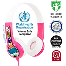 Kids Headphones by onanoff | Kids Safe Volume Limiting Headphones |Built in Headphone Splitter for Audio Sharing | Ideal for iPad, Fire and All Smartphones or Tablets | Pink
